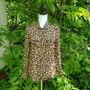 Silk Leopard Button Up. White House Black Market